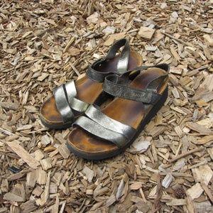Naot Kayla Metallic Leather Footbed Sandals